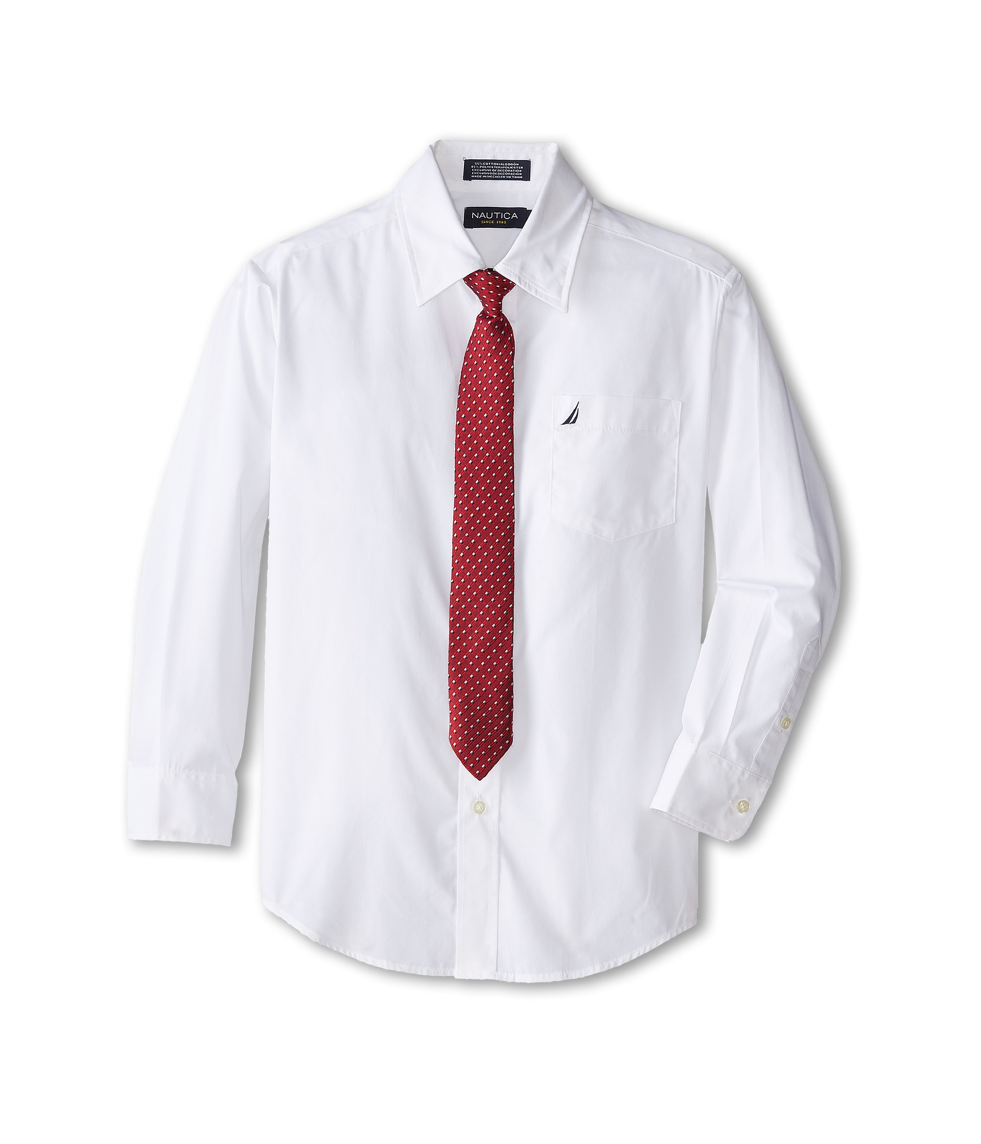 Nautica kids long sleeve poplin shirt tie set big kids for Long sleeve poplin shirt