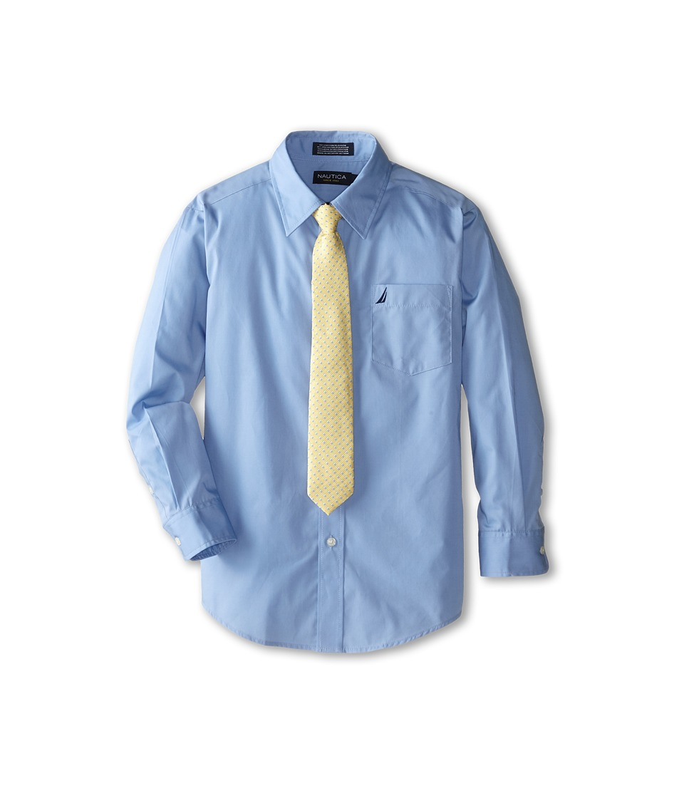 Nautica Kids - Long Sleeve Poplin Shirt/Tie Set (Big Kids) (Cornflower) Boys Clothing