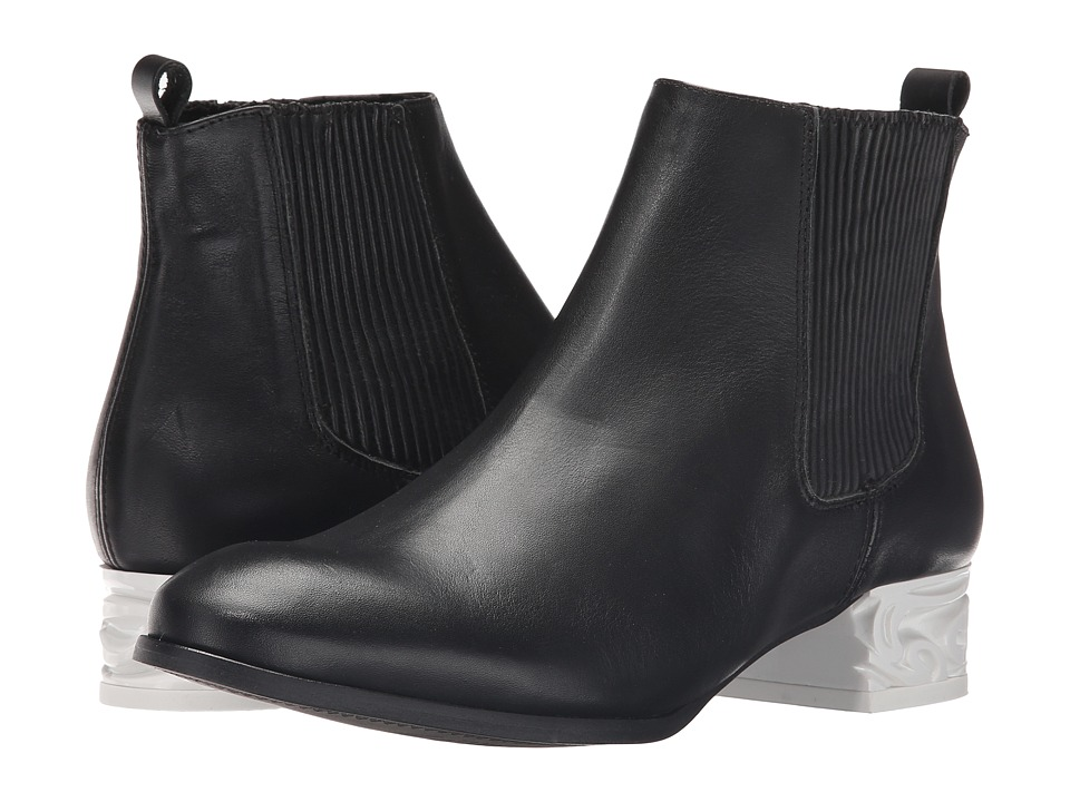 Miista Ashlynn Black/White Womens Pull on Boots