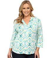 Fresh Produce - Plus Size Ikat Dockside Henley