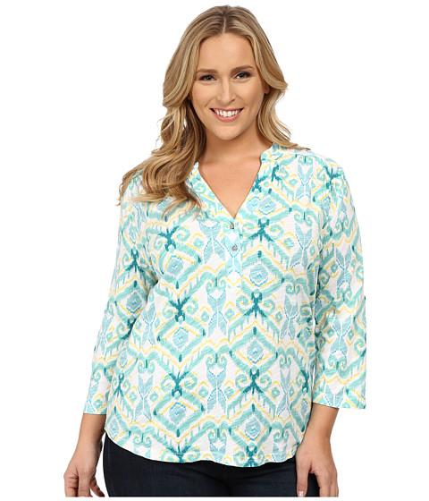 Fresh Produce - Plus Size Ikat Dockside Henley (White) Women's Blouse