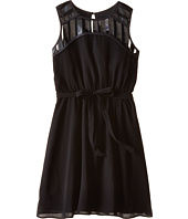 Us Angels - Crinkled Chiffon Sleeveless Illusion w/ Tie Belt & Full Skirt (Big Kids)