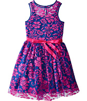 Us Angels - Irridescent Lace Sleeveless Illusion w/ Tie Belt & Full Skirt (Big Kids)