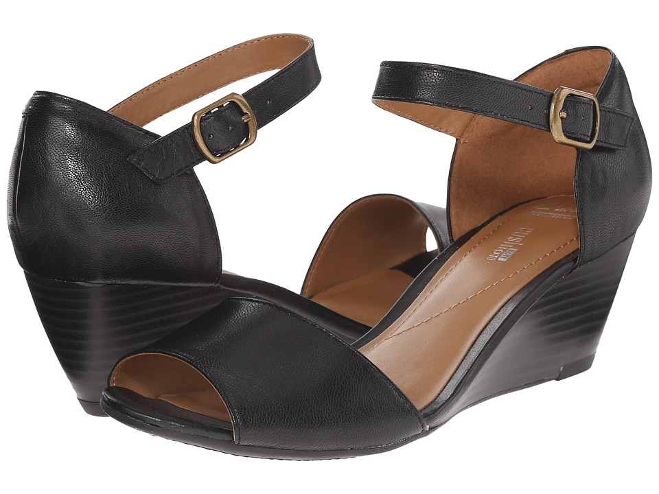 Clarks Brielle Drive Black Leather Womens Wedge Shoes
