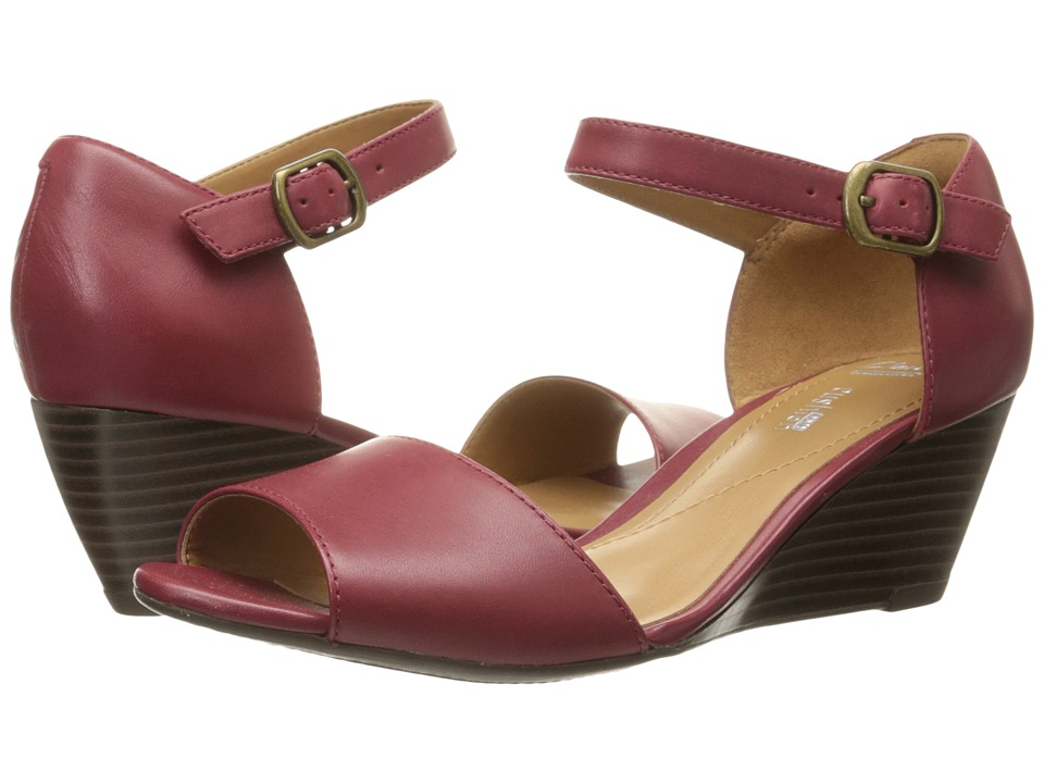 Clarks Brielle Drive Cherry Leather Womens Wedge Shoes