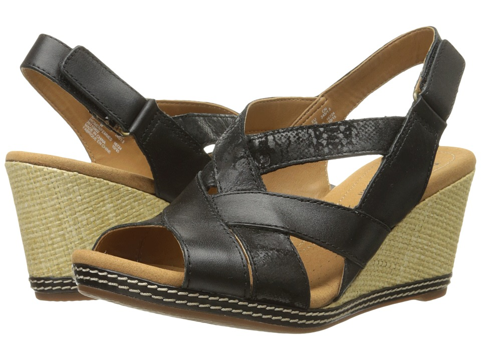Clarks Helio Coral Black Comb Leather and Suede Womens Wedge Shoes