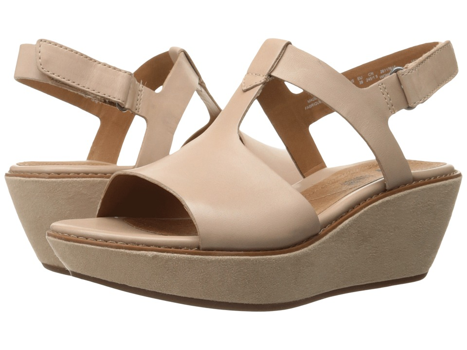 Clarks Hazelle Amore Nude Leather Womens Wedge Shoes