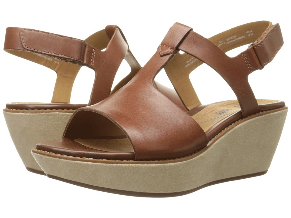 Clarks Hazelle Amore Tan Leather Womens Wedge Shoes
