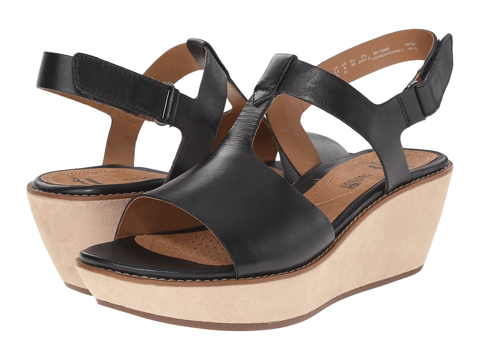 Clarks Hazelle Amore Black Leather Womens Wedge Shoes