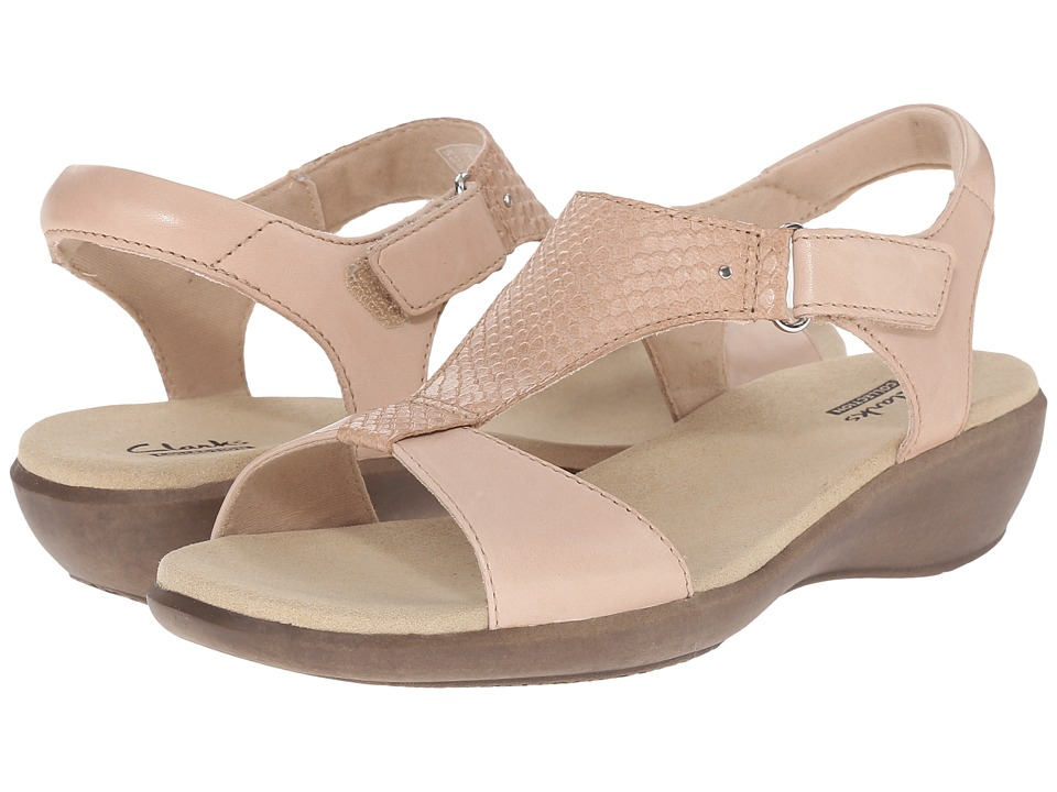 Clarks Roza Pine Nude Leather Womens Sandals