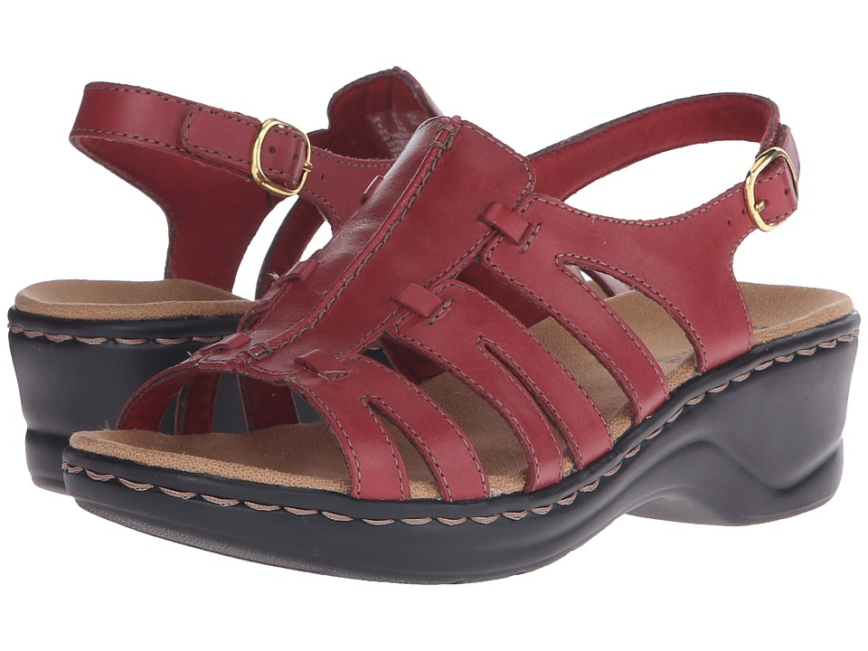 Clarks Lexi Marigold Q Red Leather Womens Sandals