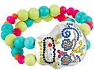 Gypsy SOULE Bejeweled Sugar Skull Stretch Bracelet (Silver/Multicolor)
