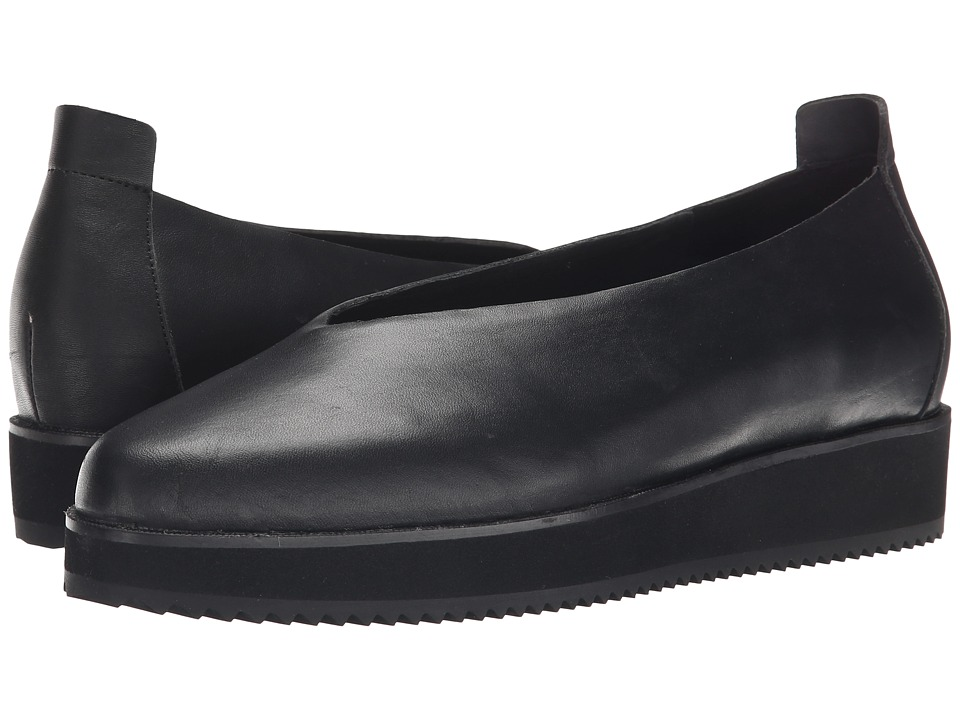 Eileen Fisher Canoe Black Leather Womens Slip on Shoes