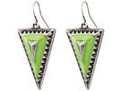 Gypsy SOULE Tribal Triangle Drop Earrings (Silver/Green)
