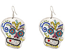 Gypsy SOULE Bejeweled Sugar Skull Drop Earrings (Silver/Multicolor)