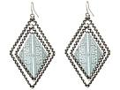 Gypsy SOULE Aztec Etched Diamond Drop Earrings (Silver/Green)