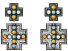 Gypsy SOULE Square Cross w/ Stones Earrings (Silver/Multicolor)