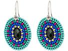 Gypsy SOULE Seed Bead Oval Drop Earrings (Turquoise/Blue)