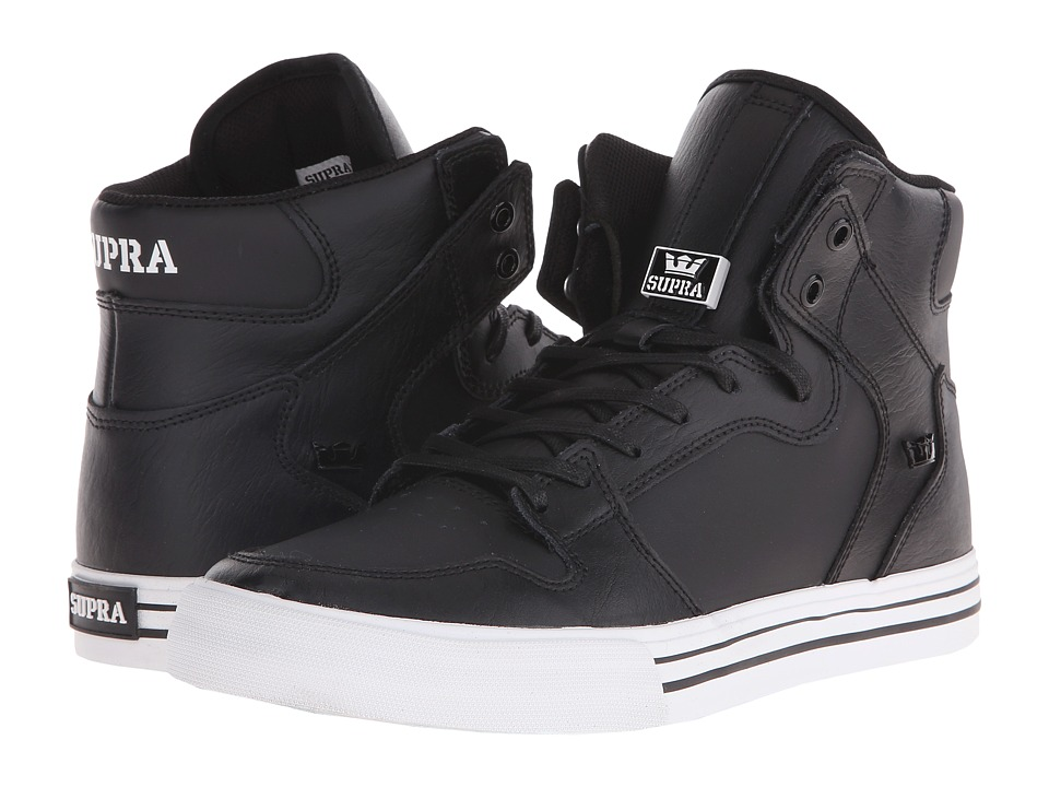 Supra - Vaider (Black/White/Leather) Skate Shoes