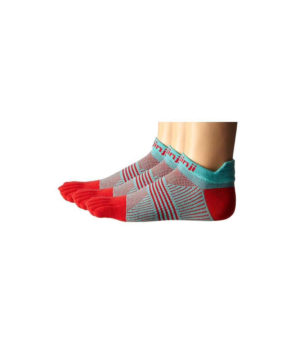 Injinji Run Lightweight No Show 3 Pair Pack Peppermint Womens No Show Socks Shoes