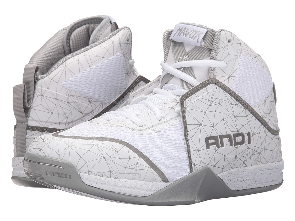 AND1 Havok Bright White/Bright White/Silver Mens Basketball Shoes