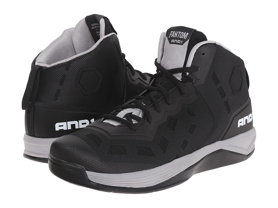 AND1 Fantom Black/Silver/White Mens Basketball Shoes