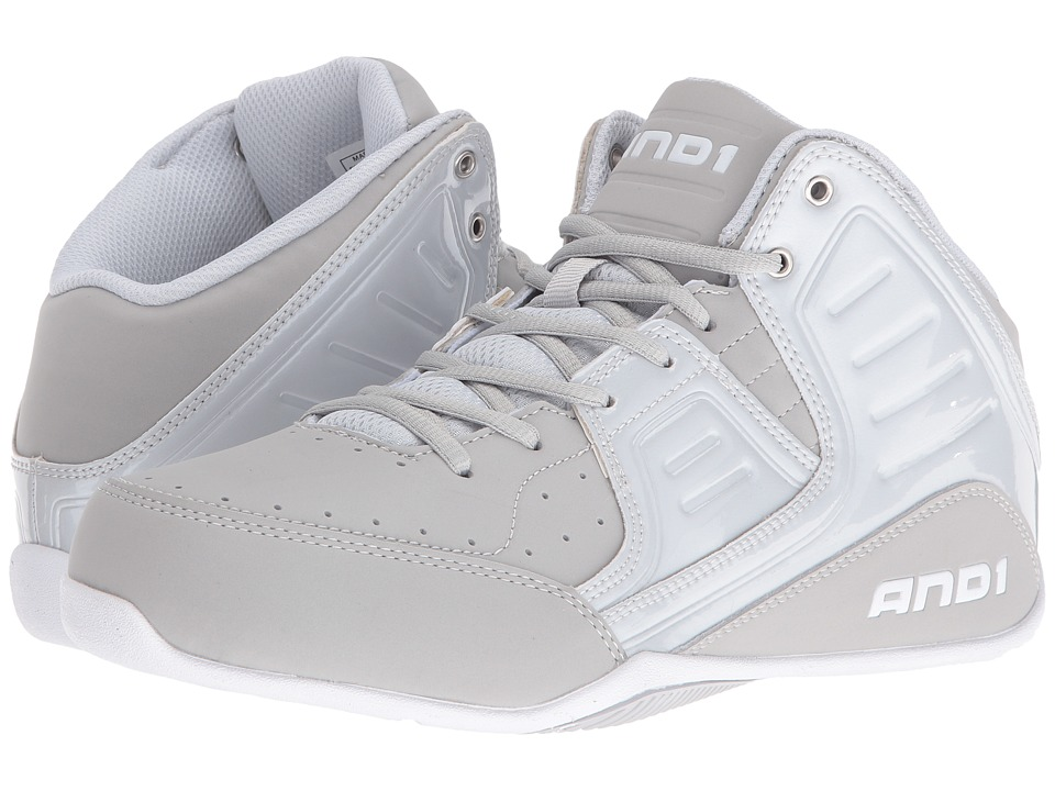 AND1 - Rocket 4 (Glacier Grey/Glacier Grey/Bright White) Mens Basketball Shoes