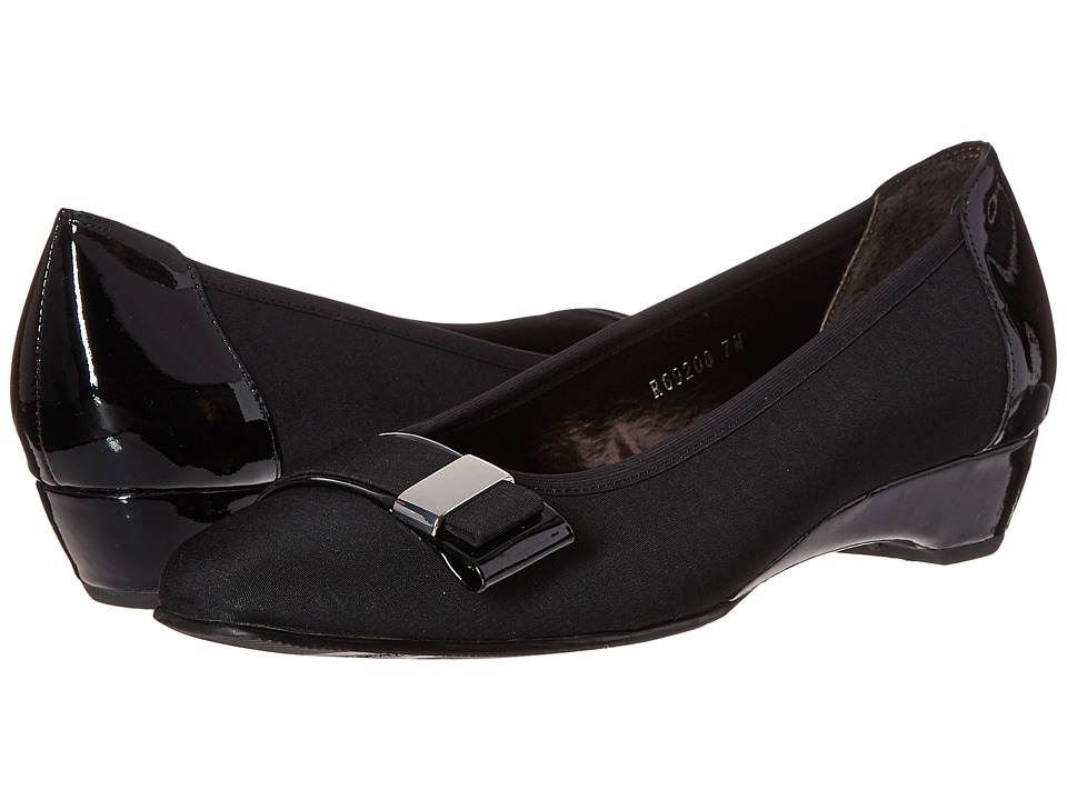 Rose Petals Brooklyn Black/Micro Patent Womens Flat Shoes