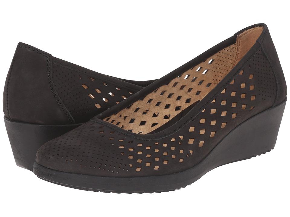 Naturalizer Brelynn Black Nubuck Womens Wedge Shoes
