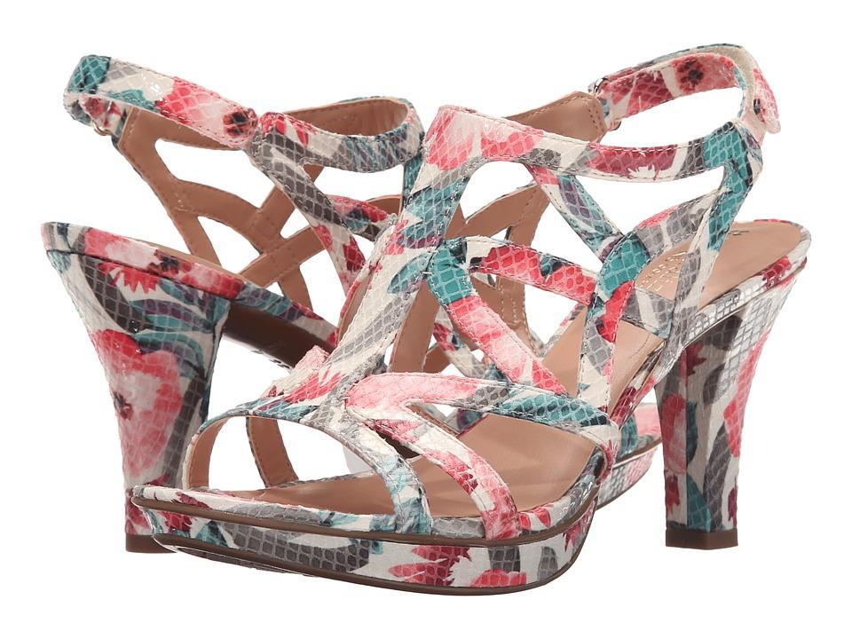 Naturalizer Danya Cream Multi Floral Glossy Printed Snake Womens Sandals
