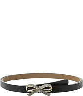 Kate Spade New York - Patent Panel Belt with Skinny Mini Bow