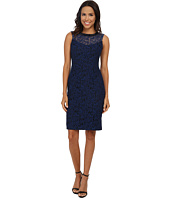 Maggy London - Fern Scroll Lace Sheath with Embellished Neck