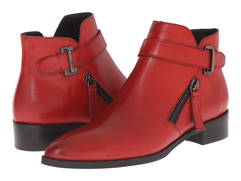 Massimo Matteo - Side Zip Boot with Strap (Red) Women