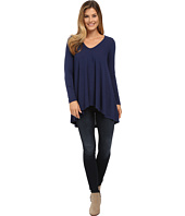 Nally & Millie - Rounded V-Neck Tunic with Shirred Back