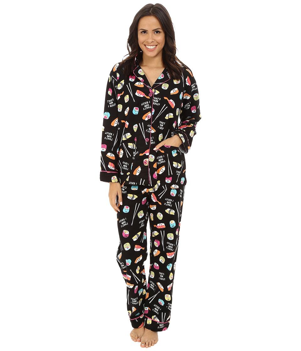 P.J. Salvage Sushi Flannel Sleep PJ Set Black Womens Pajama Sets