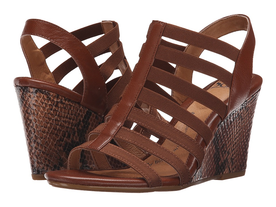 Sofft Barstow Cognac Lucky Calf Womens Wedge Shoes