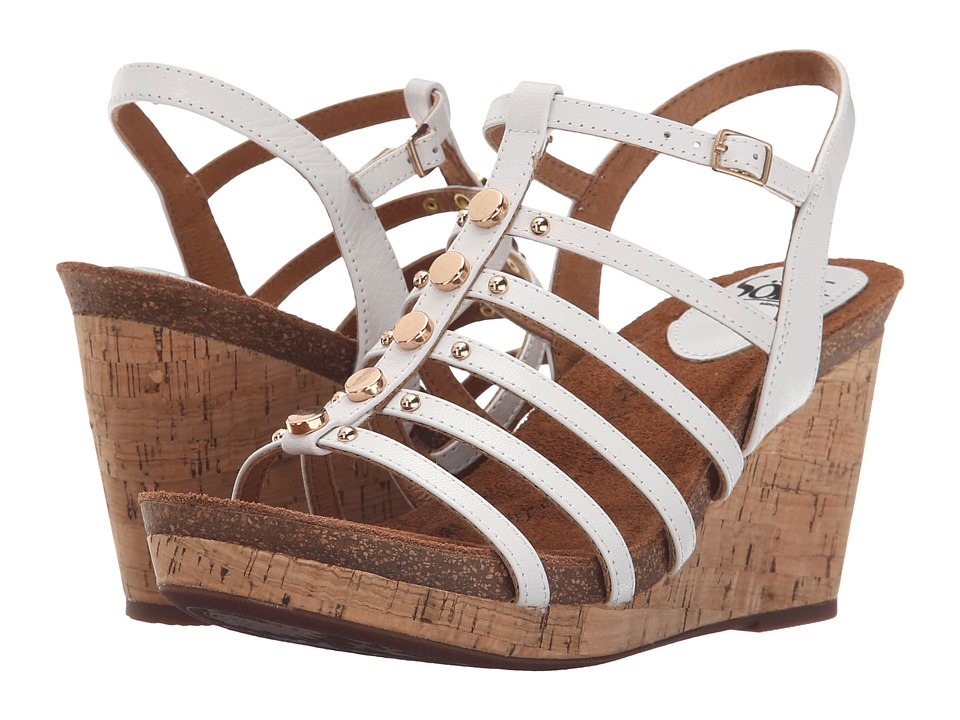 Sofft Cassie White Goat Light Pull Up Womens Wedge Shoes
