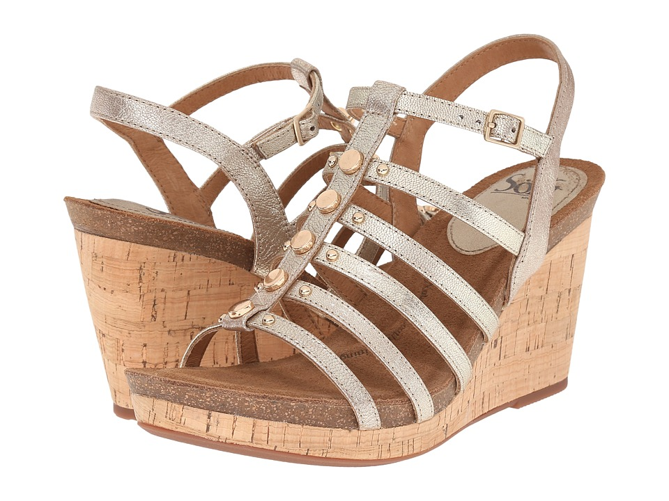 Sofft Cassie Satin Gold Grid Metallic Womens Wedge Shoes