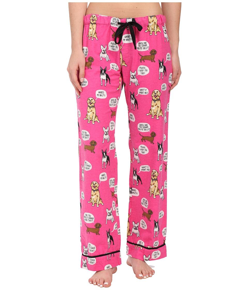 P.J. Salvage Dog Flannel Sleep Pants Hot Pink Womens Pajama