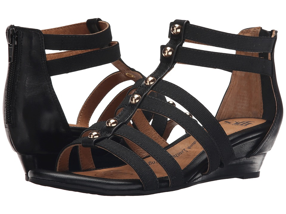 Sofft Rasida Black Lucky Calf Milled Womens Wedge Shoes