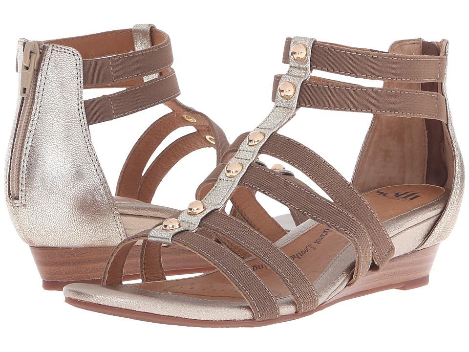 Sofft Rasida Satin Gold Grid Metallic Womens Wedge Shoes