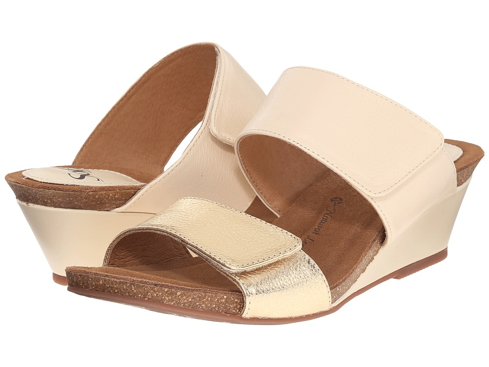 Sofft Vangie Beige/Gold Odyssey/Cow Metallic Womens Wedge Shoes