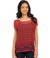 TWO by Vince Camuto - Short Sleeve Festive Foulard Border Mix Media Tee
