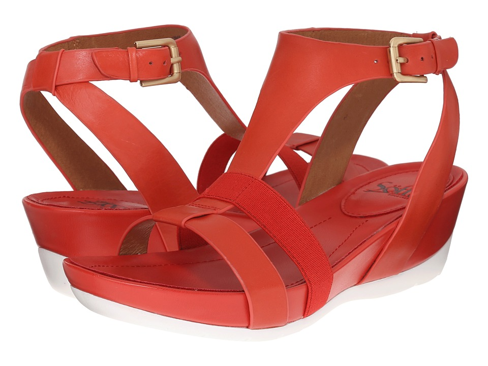 Sofft Contessa Red Tangerine Lucky Calf Milled Womens Sandals