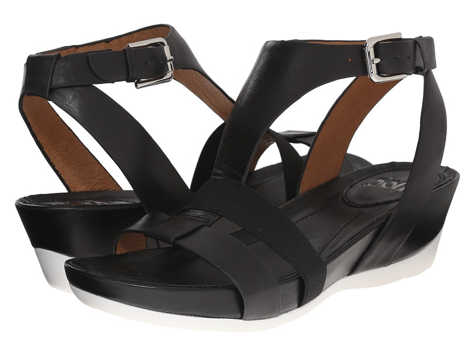 Sofft Contessa Black Lucky Calf Milled Womens Sandals