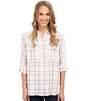 TWO by Vince Camuto - Long Sleeve Checked Twill Oversized Utility Shirt