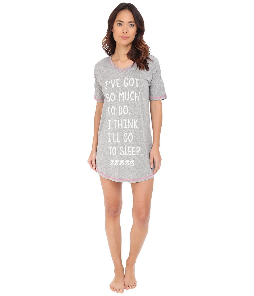 P.J. Salvage Giftables Sleep Shirt Heather Grey Womens Pajama