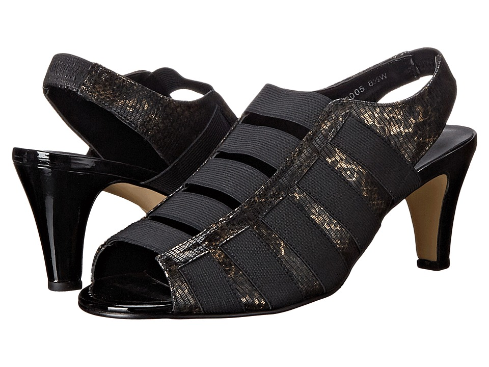 Rose Petals Charli Black Bronze Lizard Womens Toe Open Shoes