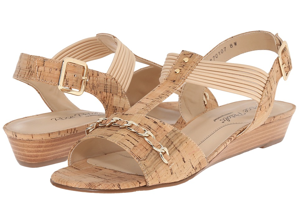 Rose Petals Jasmine Gold Cork Womens Wedge Shoes