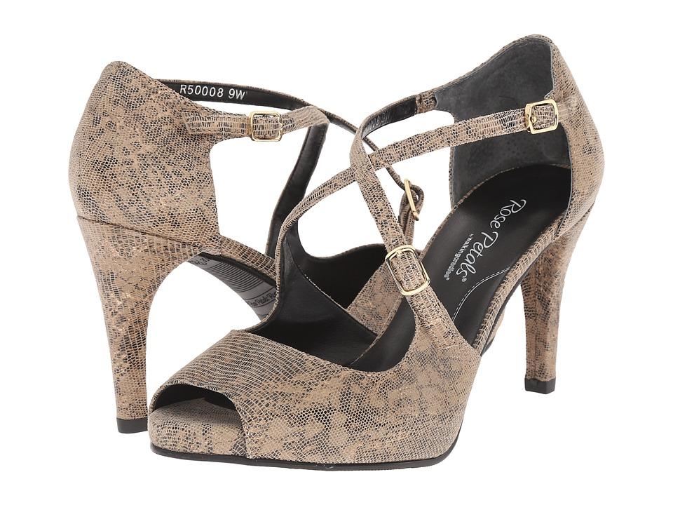 Rose Petals Lissa Taupe/Gold Lizard High Heels